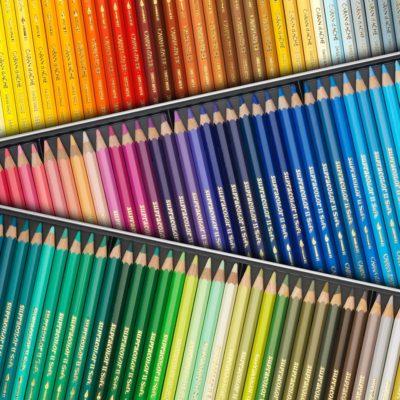 Caran d' Ache kleurpotloden, verf en pastels